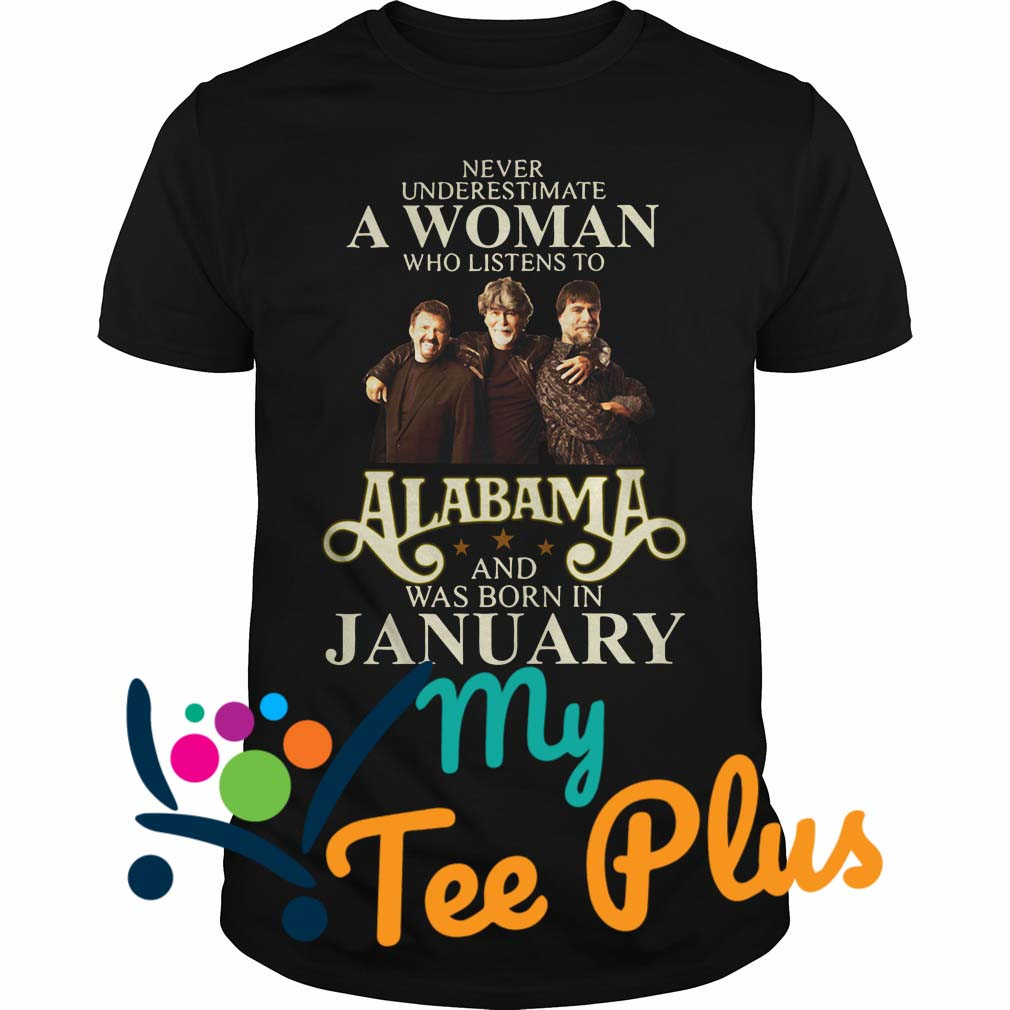 Never Underestimate a woman who listens to Alabama and was born in January Shirt