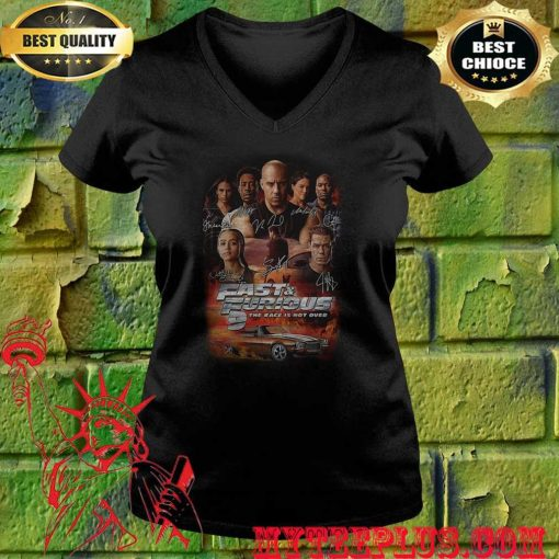 Fast and furious 9 the race is not over car characters signatures v neck