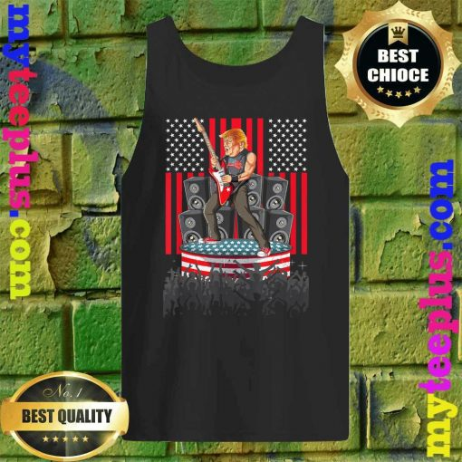 Guitar USA Flag Men Women Guitarist Trump Tank top
