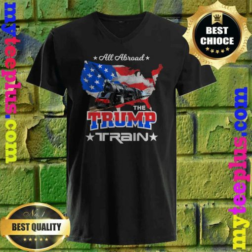 Best All Aboard The Trump Train 2020 American Flag v neck