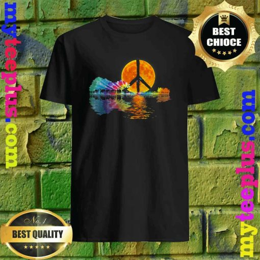 Guitar Lake Shadow Peace Love Guitar Hippie T-Shirt