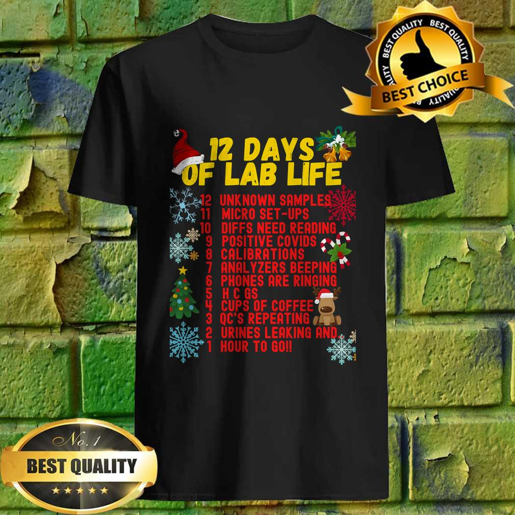 12 Days Of Lab Work Medical Technologist Christmas Gift T-Shirt