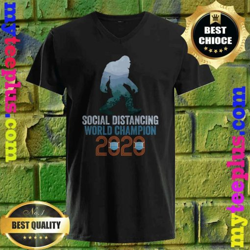 Bigfoot Social Distancing World Champion Funny Sasquatch v neck