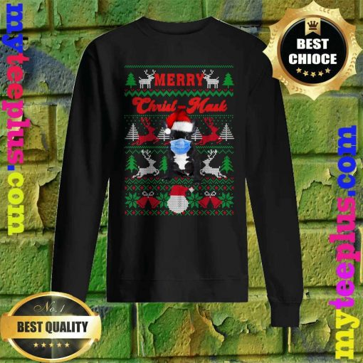 French Bulldog Merry Christ-Mask Ugly Christmas Sweatshirt