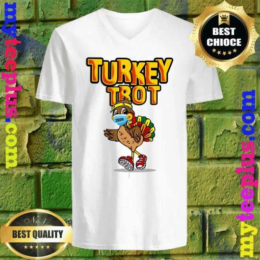 Funny Turkey Trot Face Wearing A Mask Thanksgiving 2020 v neck