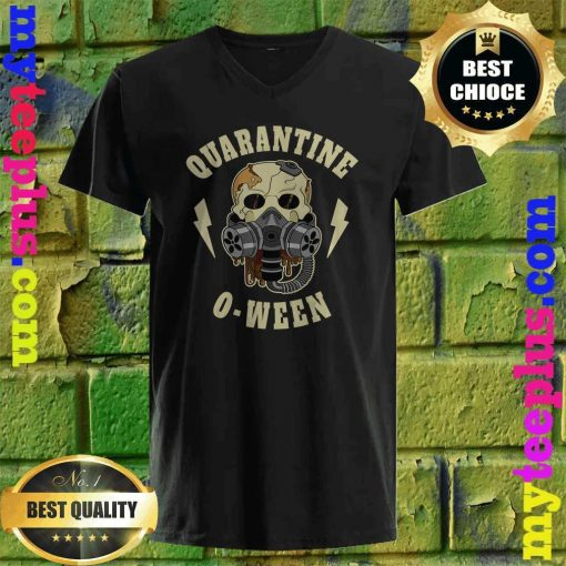 Quarantine O Ween Halloween Skeleton Mask Skull Gift v neck