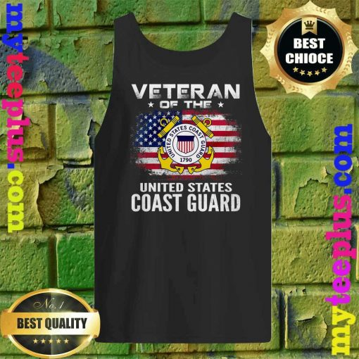 Veteran Of The United States Coast Guard With American Flag Tank top