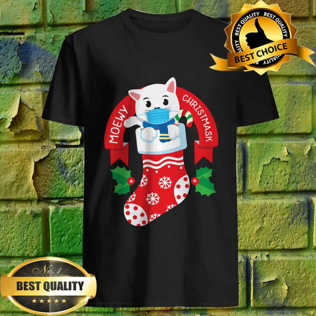 Cute Cat Face Mask Funny Christmas Stocking T-shirt