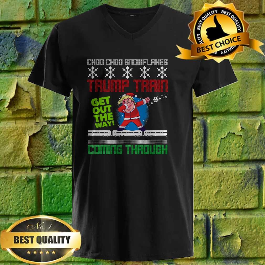 Funny Christmas Trump Train get out the way coming through v neck