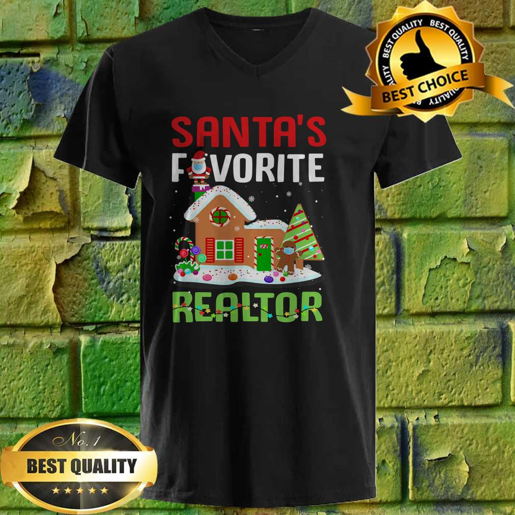 Funny Santa's Favorite Realtor Estate Agent Christmas Gift v neck