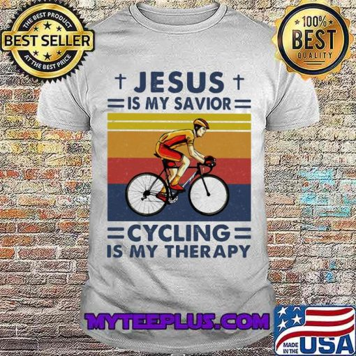 Jesus Is My Savior Cycling Is My Therapy Vintage Shirt